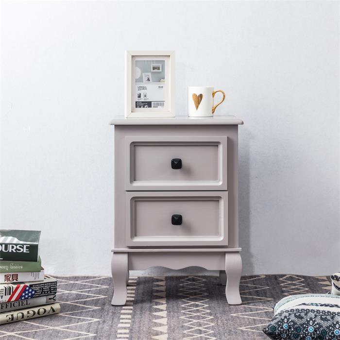 Table de chevet ELEGANTE au style baroque, 2 tiroirs, brun clair
