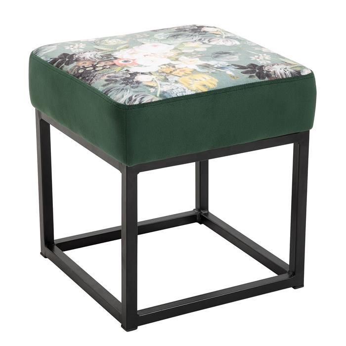 Tabouret pouf carré MARBELLA avec motifs fleurs, en velours vert