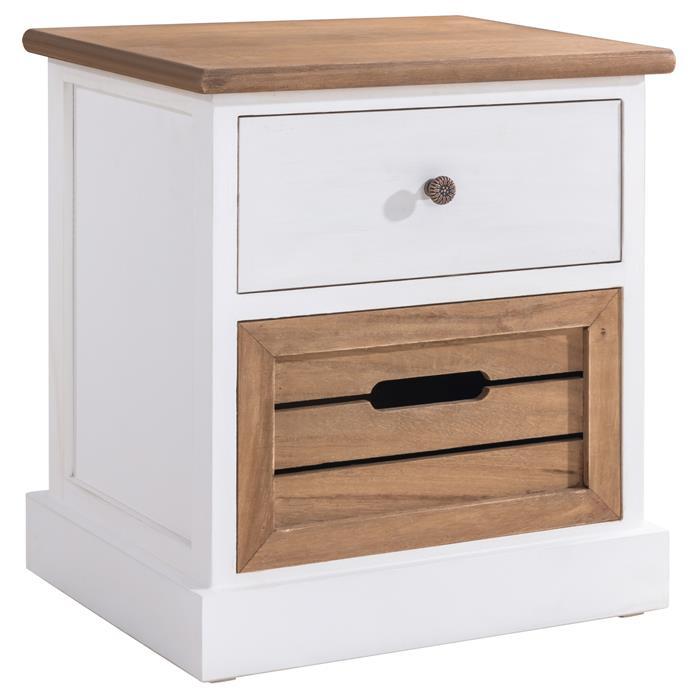 Table de chevet CORNELIA, 1 tiroir et 1 caisse de rangement, blanc et brun