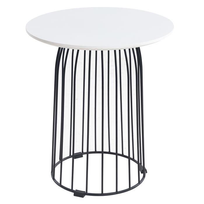 Table basse ronde SALAMANCA, en métal noir et décor blanc