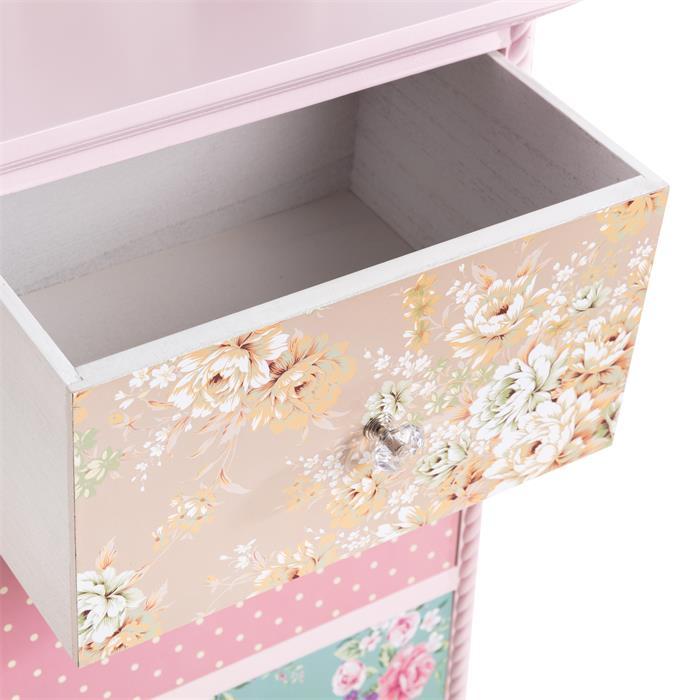 Table de chevet MAGNOLIA, 3 tiroirs, rose