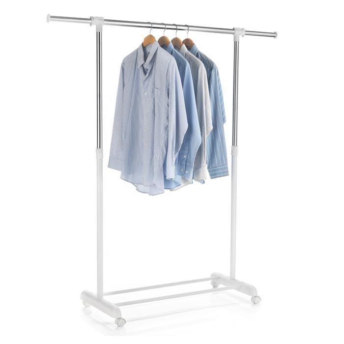 Portant à vêtements SALA, en métal chromé et blanc