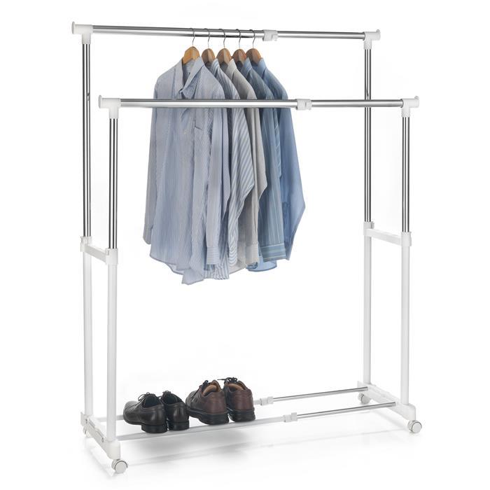 Portant à vêtements CASA, en métal chromé et blanc
