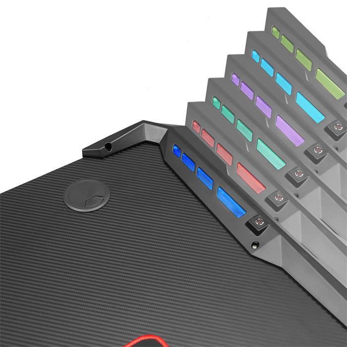 Bureau gamer RUSH avec éclairage LED, en métal noir et rouge