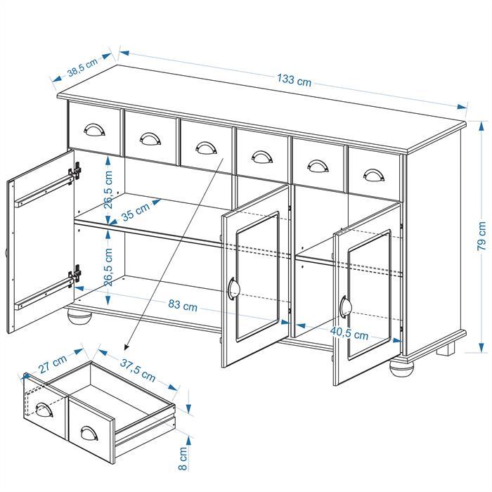 Buffet COLMAR en pin massif, 3 tiroirs et 3 portes, lasuré couleur hêtre