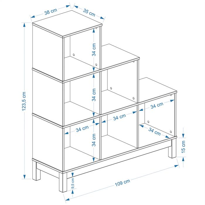 Etagère escalier en pin LOGO, 6 casiers, lasuré blanc