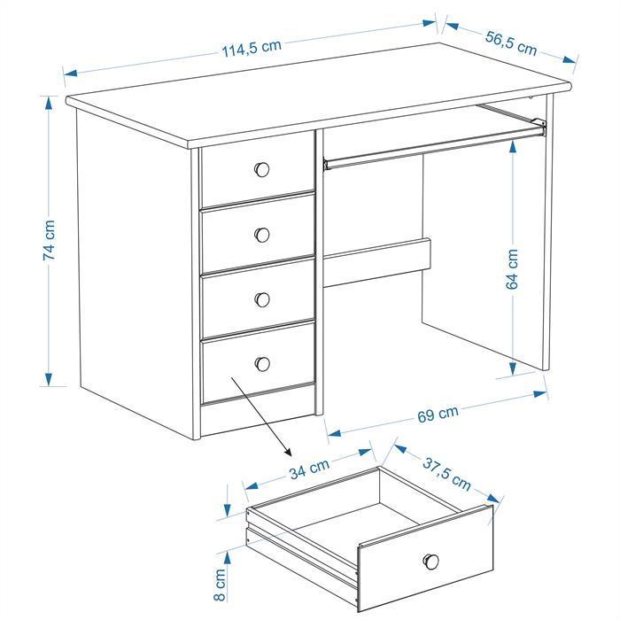 Bureau enfant MALTE, 4 tiroirs, lasuré blanc/bleu