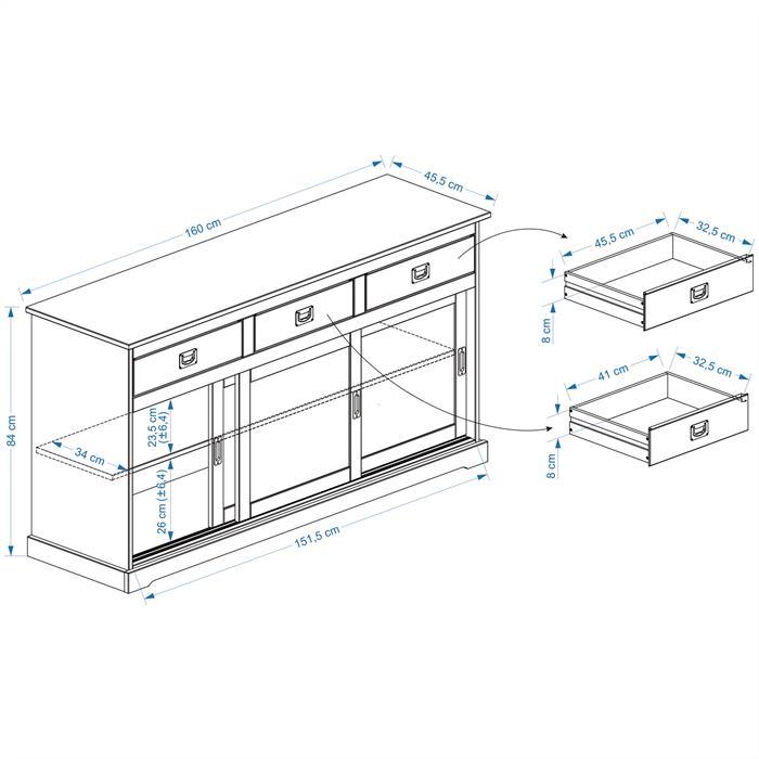 Buffet SAVONA en pin massif, 3 tiroirs et 3 portes, lasuré taupe