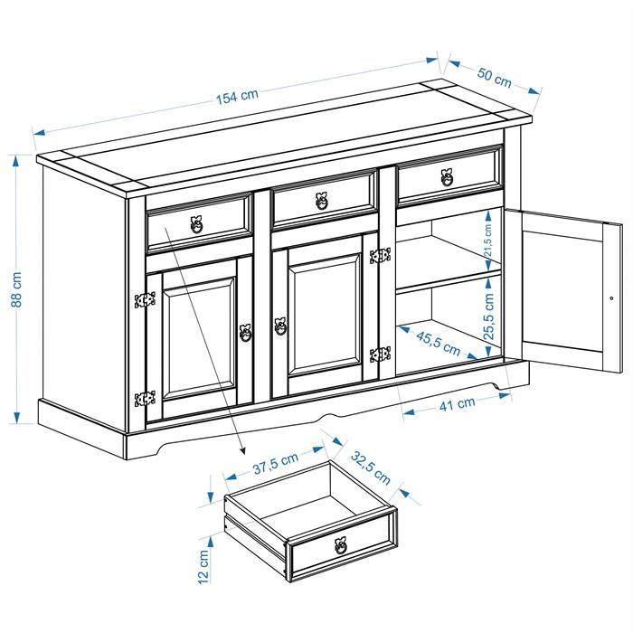 Buffet en pin TEQUILA, 3 tiroirs et 3 portes, finition teintée/cirée