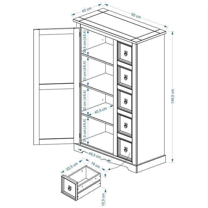 Buffet apothicaire en pin TEQUILA style mexicain, 1 portes et 5 tiroirs
