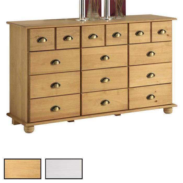 Commode apothicaire en pin COLMAR 12 tiroirs, 2 coloris disponibles