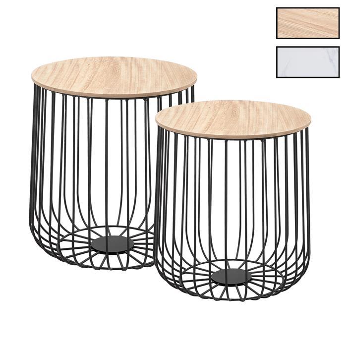 Lot de 2 tables d'appoint ERRANO, en métal noir