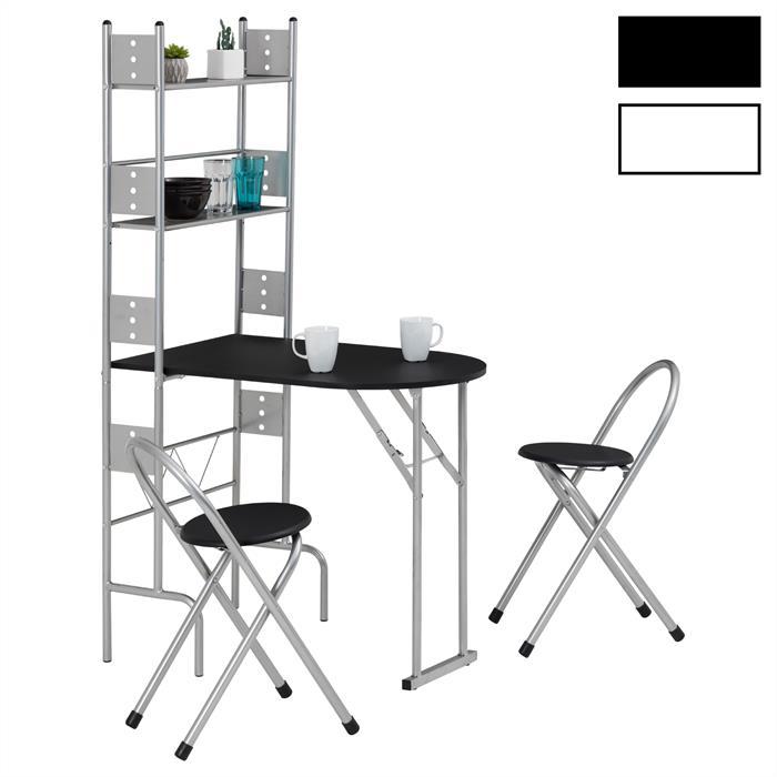 Ensemble table de cuisine pliable avec étagères et 2 chaises JONATHAN