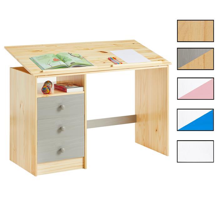 Bureau enfant kevin en pin massif 3 tiroirs et plateau inclinable mobil meubles - Bureau enfant pin massif ...