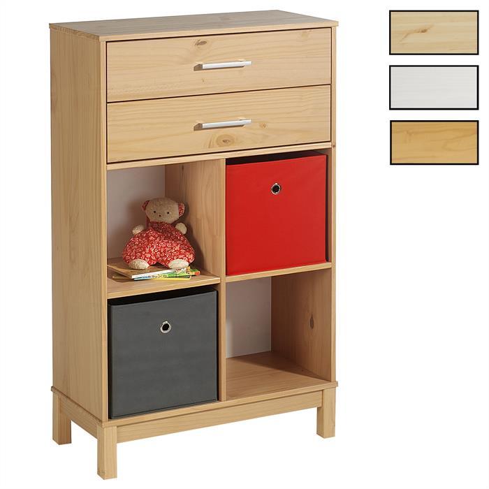 Etagère 4 casiers 2 tiroirs en pin LOGO, 3 coloris disponibles