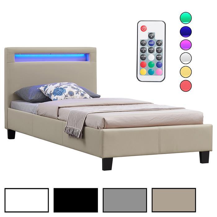 Lit simple LUCENO, 90 x 190 cm, avec LED intégrées et sommier, revêtement synthétique