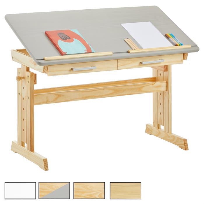 bureau enfant olivia en pin massif r glable en hauteur et plateau inclinable mobil meubles. Black Bedroom Furniture Sets. Home Design Ideas