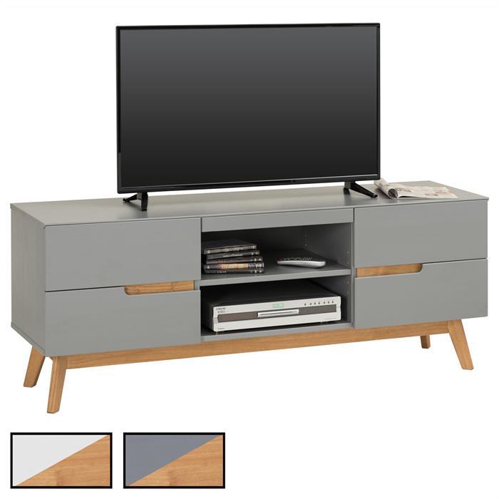 Meuble TV TIBOR, 4 tiroirs et 2 niches