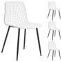 Lot de 4 chaises DENO, en plastique blanc