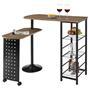 Table haute de bar JOSUA, décor chêne sauvage/noir