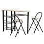 Ensemble table haute de bar et 2 chaises STYLE, décor chêne sonoma et métal noir