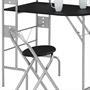 Ensemble table de cuisine pliable avec étagères et 2 chaises JONATHAN, noir
