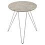 Table d'appoint BENNO, avec pieds en épingle métal chromé et décor béton gris