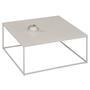 Table basse carré HILAR, cadre et plateau en métal laqué blanc