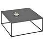 Table basse carré HILAR, cadre et plateau en métal laqué gris