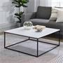 Table basse carrée SAHARA, en métal laqué noir et MDF décor blanc mat