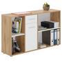 Bureau d'angle CARMEN avec meuble de rangement, décor chêne sauvage et blanc mat