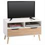 Meuble TV GENOVA, décor blanc mat et chêne sonoma