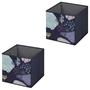 Lot de 2 boîtes de rangement FLOWER NIGHT, en tissu bleu foncé