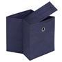 Lot de 2 boîtes de rangement ELA, en tissu bleu foncé