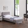 Lit simple LILLE, 90 x 190 cm, capitonné avec sommier, revêtement en tissu gris