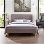 Lit simple LILLE, 120 x 190 cm, capitonné avec sommier, revêtement en tissu gris