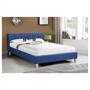 Lit double LILLE, 140 x 190 cm, capitonné avec sommier, revêtement en tissu bleu