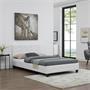 Lit simple MARLON, 120 x 190 cm, capitonné avec sommier, revêtement synthétique blanc