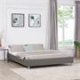 Lit double futon NIZZA, 160 x 200 cm, avec sommier, revêtement synthétique, gris