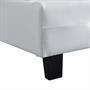 Lit simple REVE, 90 x 190 cm, capitonné avec sommier, revêtement synthétique blanc