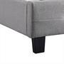 Lit simple REVE, 90 x 190 cm, capitonné avec sommier, revêtement en tissu gris