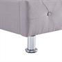 Lit double BIARRITZ, 140 x 190 cm, capitonné avec sommier, revêtement en tissu gris