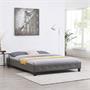 Lit double futon GOMERA, 160 x 200 cm, avec sommier, revêtement synthétique gris