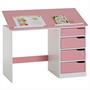 Bureau enfant EMMA, en pin massif, 4 tiroirs et plateau inclinable, lasuré blanc et rose