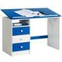 Bureau enfant KEVIN, en pin massif, 3 tiroirs et plateau inclinable, lasuré blanc et bleu