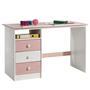 Bureau enfant KEVIN, en pin massif, 3 tiroirs et plateau inclinable, lasuré blanc et rose
