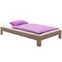 Lit futon THOMAS, en pin massif, 90 x 190 cm, lasuré taupe