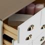 Commode apothicaire COLMAR en pin massif, 11 tiroirs, lasuré blanc et taupe