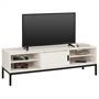 Meuble TV SELMA, 2 portes coulissantes, lasuré blanc