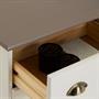 Commode apothicaire COLMAR en pin massif, 8 tiroirs, lasuré blanc et taupe